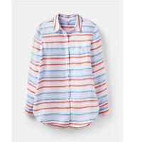 Joules Jeanne Print Shirt Red Multi Stripe Size 8, 10, 12, 14, 16, 18
