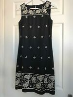 Monsoon Embroidered Paisley Black Shift Dress Size 8