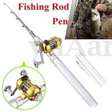 Mini Pen Fishing Tackle Rod Portable Pocket Aluminum Telescopic Pole Reel New