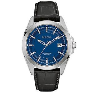 Bulova Precisionist Date Stainless Steel Blue Dial Quartz Mens Watch 96B257