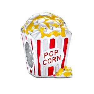 Movie Popcorn Bucket Food Multi Color Charm Bead 925 Sterling Silver
