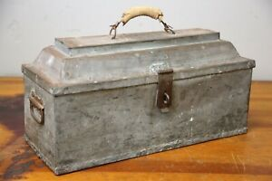 ANTIQUE COFFIN CASKET TOOL BOX WITH TRAY HAND MADE FOLK ART JK INITIALS ON TOP