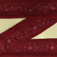 Vintage saree Border Indian Used Sari Maroon Sewing Embroidered 1YD Ribbon