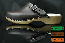size 7 UK / 41 EU Men's wooden clogs, swedish , Brown  leather