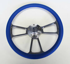 """Mercury Cougar Comet Cyclone Steering Wheel Blue and Billet 14"""" Shallow Dish"""