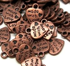 Heart Charm Made With Love Antiqued Copper Jewelry Lot of 20