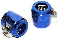 Aluminium Hex Clamp Finisher / Hose End for Braided Hose - Blue AN-6