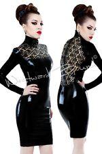 R1070 Westward Bound Blk/Trans Lace Latex Rubber Dress 10 UK SECONDS RRP £312.00
