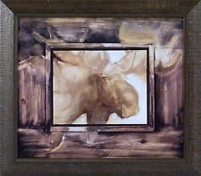 MOOSE THINKING ABOUT IT by Mary Roberson 14x16 FRAMED PRINT PICTURE Moose Head