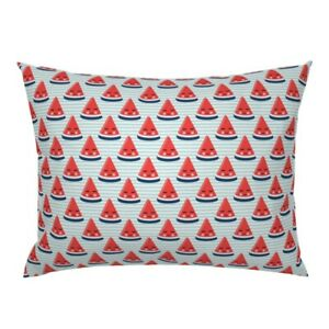Watermelon Red White And Blue Stars Stripes Summer Fruit Pillow Sham by Roostery