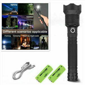 XHP90 LED 110000LM Tactical 3 Mode Zoom Flashlight LED Hunting Torch