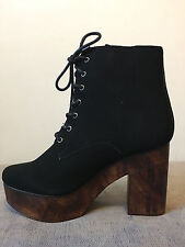 *** Wooden Block Platform Lace up Ankle Boot Black Suede Low Prices BNIB ***
