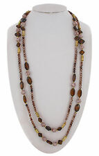 Czech Bohemian Glass Beaded Necklace Brown Amber Pink Long 62""