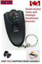 Durable LED Alcohol Breath Tester Breathalyzer Flashlight Torch Keychain Black