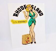 Rhode Island Pinup Vintage Style Travel Decal, Vinyl Sticker, Luggage Label