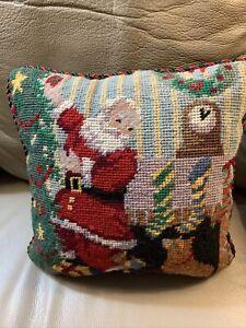 """Vtg Needlepoint Petit point Santa Claus Trimming Tree Pillow Velvet Back 9-1/2"""""""