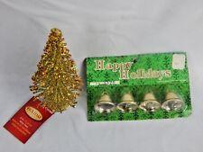 Nos 4 Christmas Bells Japan Ornaments Glited Gold Wire Metallic Mini Tree Lot