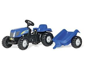 ROLLY TOYS RIDE ON NEW HOLLAND T7040 PEDAL TRACTOR AND TRAILER 2Yrs+