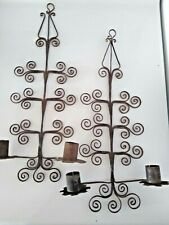 PAIR OF ANTIQUE RUSTY METAL WALL HANGING CANDLE HOLDERS