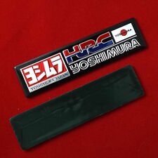 "3.1/4""x1p. black hrc honda racing yoshimura metal aluminium decal sticker emboss"