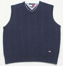 Sweater Vest Tommy Hilfiger Navy Blue White Cotton Sleeveless Mens V-Neck Solid