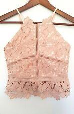 BARDOT JUNIOR Designer Girls Pink Crochet Sleeveless Cropped Top size 12 EUC