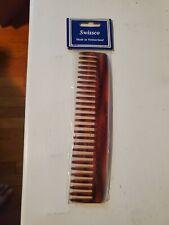 Swissco Handmade Comb.Tortoise Dressing Comb - Wide Tooth. Vintage