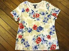 New!  Karen Scott Floral Print Knit Top        Size 0X