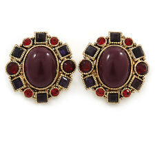 Vintage Inspired Plum/ Burgundy/ Red Crystal, Oval Clip On Earrings In Antique G