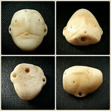 MESOPOTAMIAN MARBLE HEAD AMULET BEAD WITH PIERCED EARS 3rd-2nd MILLENNIUM B.C.
