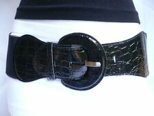 New Women Hip High Waist Stretch Fabric Wide Black Fashion Belt Plus Size M L XL