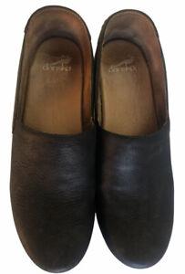 DANSKO Black Clogs Leather Nubuck Slip On Nurse Shoes Size 41 US 10.5 - 11