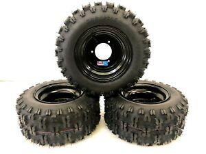 """Honda ATC 70 DWT Black Aluminum Front and Rear Wheels Rims Snow Hog Tires 18"""""""