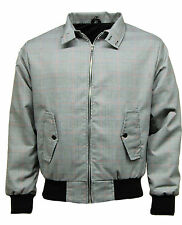 MEN'S CLASSIC PRINCE OF WALES HARRINGTON SMART JACKET GREY RED CHECK