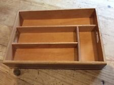 Vintage Wooden Cutlery Tray - 4 Compartment