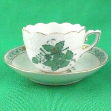 CHINESE BOUQUET Herend Green Cup & Saucer 724-1 NEW NEVER USED Hungary 24kt Gold