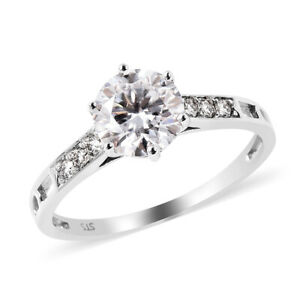 10K White Gold Moissanite Ring Engagement Jewelry Gift For Women Size 7 Ct 1.6