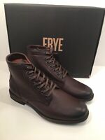 FRYE Tyler Women's 8 Dark Brown Leather Combat Moto Lace Up Ankle Boots $317 NIB
