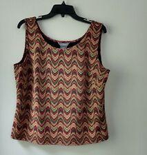 KORET women's sleeveless tank top career blouse brown green tan Size 14