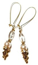 Long Gold Pink Pearl Earrings Glass Beads Drop Dangle Pierced Hook
