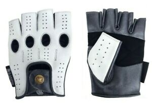 MEN'S WHITE LEATHER FINGERLESS DRIVING MOTORCYCLE BIKER GLOVES Work Out Exercise