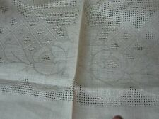 "VINTAGE CZECH LINEN DAMASK TABLECLOTH w WOVEN ROSES TABLECLOTH 52"" MINT NOT USED"
