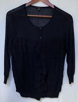 Ann Taylor Women's MEDIUM Black Button-Down 3/4 Sleeve Ruffle Cardigan Sweater