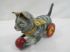 Vintage 1940's Marx Tin Litho Lever Action Kitten Toy **Rare Leather Ears**