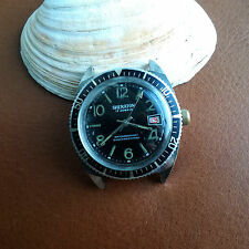 Vintage Sheraton Sheffield Diver Watch w/Patina,Red Date Wheel FOR PARTS/REPAIR