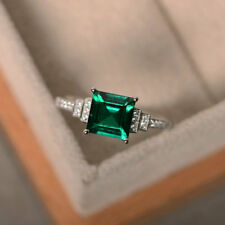 1.95 Ct Emerald Diamond Engagement Ring Princess 14K Solid White Gold Size Q