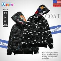 A Bathing Ape BAPE Camouflage Coat Shark Head Full Zip Jacket Hoodie Sweatshirt