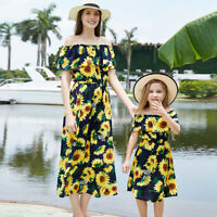 Mother Daughter Family Matching Dress Mommy and Me Floral Holiday Maxi Sundress
