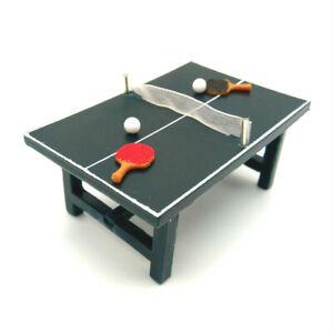 Dollhouse Ping-Pong Table Table Tennis Table Bat Ball 1:24 Miniature Sport Decor