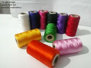 10 Silk Rayon Embroidery Machine Thread Strong Spools Solid basic 10 Colors uk